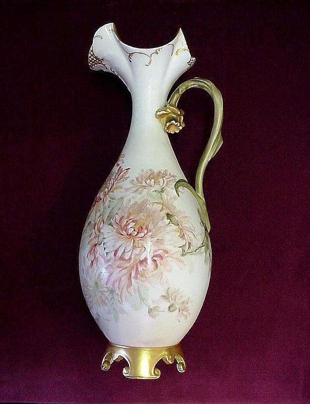 BEAUTIFUL ANTIQUE LIMOGES EWER ARTIST SIGNED }1893