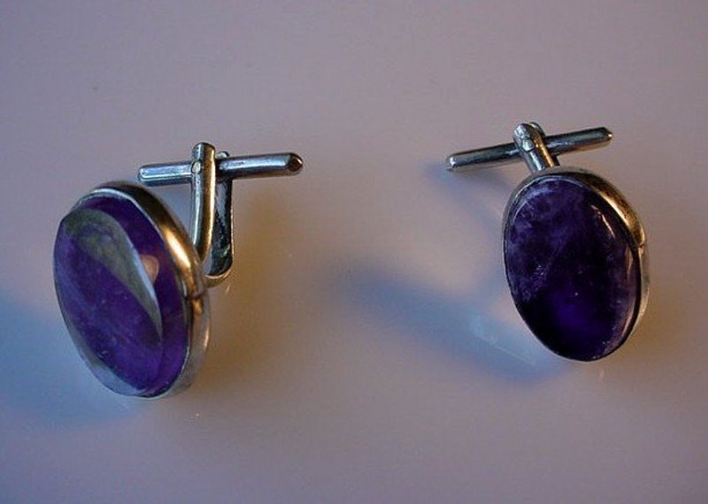 SIGNED ZEVAHC MEXICAN STERLING & AMETHYST QUARTZ CUFFS