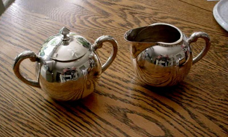 STERLING CREAM & SUGAR SET  HEAVY MEXICAN SILVER