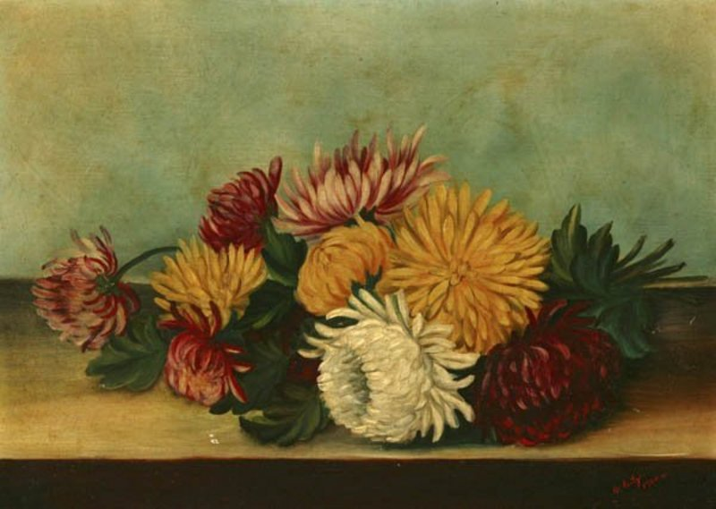 OSCAR SEITZ FLORAL STILL LIFE 1900 OIL ON CANVAS