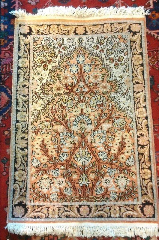 HANDWOVEN PERSIAN SILK QUM PRAYER RUG