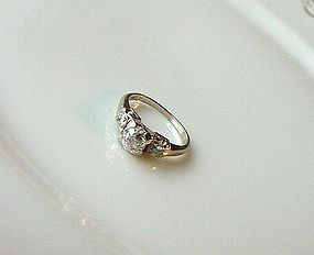 14K WHITE GOLD .60CT OLD CUT DIAMOND ENGAGEMENT RING