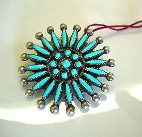 NATIVE AMERICAN STERLING PETIT POINT BROOCH
