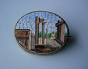ANTIQUE BROOCH MICRO MOSAIC DEPICTING RUINS OF ROME