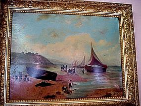 BOATS AT LOW TIDE.. WILLIAM SPRY LISTED ARTIST 1890's