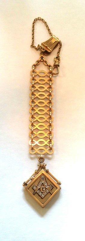RARE 18K SOLID GOLD MASONIC DIAMONDS LOCKET & FOB