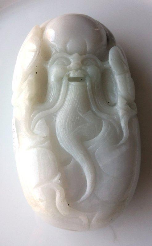 WHITE JADE BOULDER LONGEVITY GOD SHOU LAO