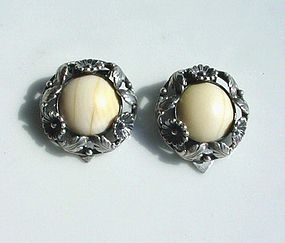 PR. SIGNED STERLING & IVORY N.E. FROM CLIP EARRINGS