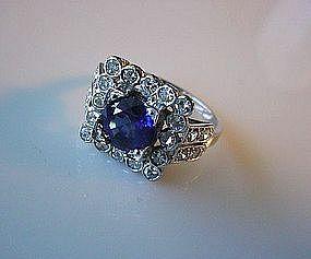BEAUTIFUL ART DECO PLATINUM DIAMOND & SAPPHIRE RING