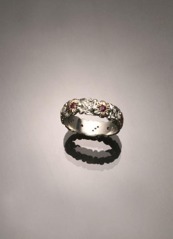 PLATINUM ROSE GOLD RUBY & DIAMONDS ETERNITY BAND