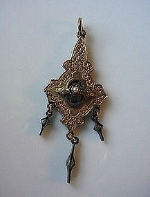 Antique Victorian Gold LAVALIERE WITH PEARL