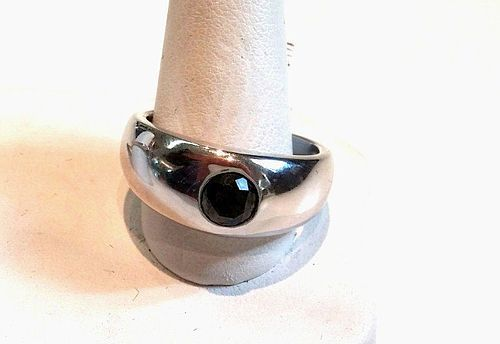 14K WHITE GOLD & 3/4 CARAT BLACK DIAMOND RING