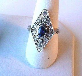 PLATINUM DIAMONDS SAPPHIRE ANTIQUE NAIVETTE SHAPE RING