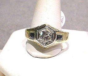 14 DIAMOND wSAPPHIRE ACCENTS RETRO RING .61 Carat DIAMOND