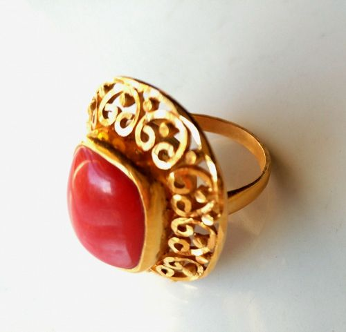 AMAZING 22K YELLOW GOLD CORAL RING HANDCRAFTED FILIGREE
