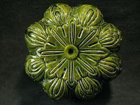 Liao Dynasty - Green Glazed Pumpkin Shaped Cover Box