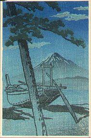 Kawase Hasui Japanese Woodblock Print - Pinebeach at Miho