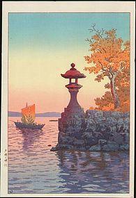 Koitsu Woodblock Print - Fishing Boat Yabase SOLD