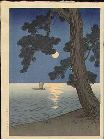 Arai Yoshimune Japanese Woodblock Print - Pine Beach - Hasegawa Night