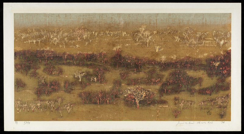 Joichi Hoshi Japanese Woodblock Print - Field 1974 - Limited Edition