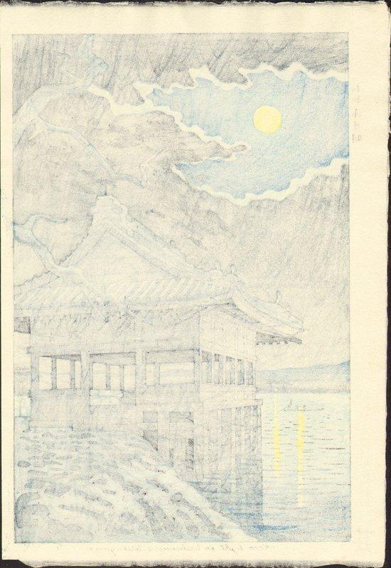 Takeji Asano Japanese Woodblock Print - Moonlight