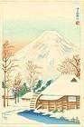 Yamamoto Japanese Woodblock Print - Mt. Fuji and Snowy Cottage