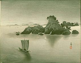 Ohara Koson Japanese WoodblockPrint - Matsushima -boat RARE SOLD