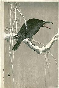 Ohara Koson Japanese Woodblock Print - Cawing Crow SOLD
