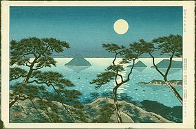 Koichi Okumura Japanese Woodblock Print - Evening at Washiuzan