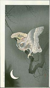 Ohara Koson Japanese Woodblock Print - Owl and Moon SOLD