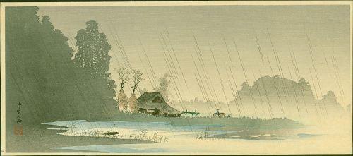 Takahashi Shotei Woodblock Print - Rain at Igusa - Pre-earthquake