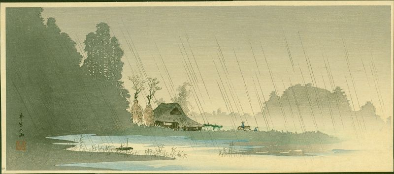 Takahashi Shotei Woodblock Print - Rain at Igusa - Pre-earthquake