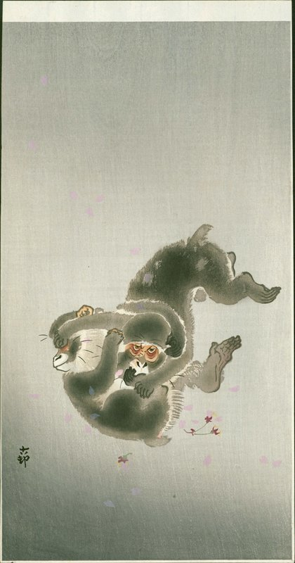 Ohara Koson Japanese Woodblock Print - Playing Monkeys