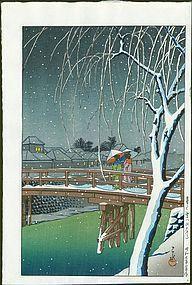 Kawase Hasui Woodblock Print - Evening Snow, Edo River SOLD