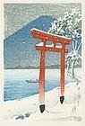 Kawase Hasui Japanese Woodblock Print - Chuzenji, Utagahama