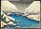 Narazaki Eisho Japanese Woodblock Print - Futagawa River in Snow SOLD