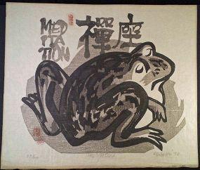 Clifton Karhu Japanese Woodblock Print - Frog in Zazen Meditation