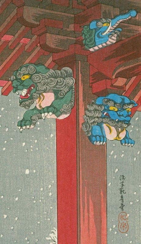 Takahashi Shotei Woodblock Print - Snow at Asakusa Kannon-do SOLD