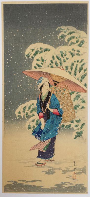 Takahashi Shotei Japanese Woodblock Print - Spring Snow