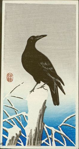 Ohara Koson (Shoson) Woodblock Print - Crow on Snowy Stump SOLD