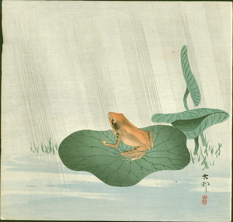 Ohara Koson Japanese Woodblock Print - Frog on Lotus Leaf SOLD