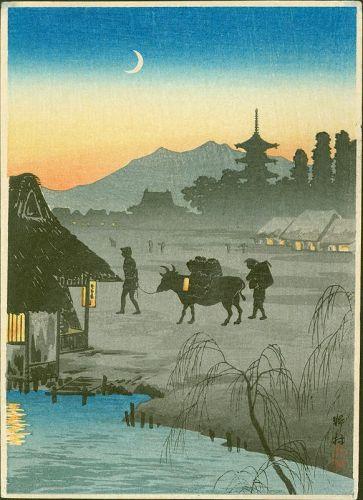 Takahashi Shotei Woodblock Print - Returning Home, Evening SOLD