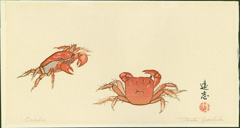 Toshi Yoshida Japanese Woodblock Print - Crabs 1925