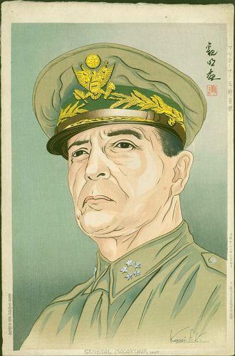 Kanmei Japanese Woodblock Print - General MacArthur- Rare - SOLD