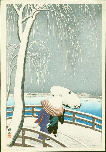 Ohara Koson Japanese Woodblock Print - Snow On Willow Bridge SOLD