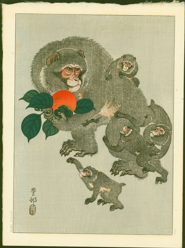 Ohara Koson (Hoson) Woodblock Print -  Monkeys and Persimmon SOLD