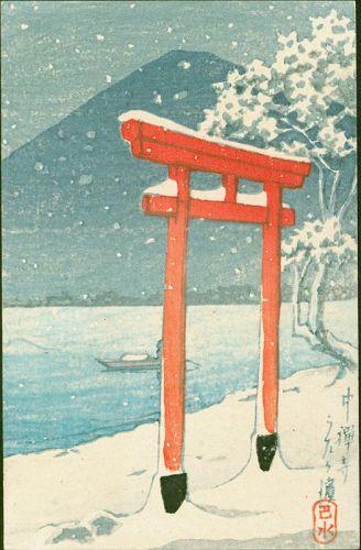 Kawase Hasui Japanese Woodblock Print - Chuzenji - Rare Postcard