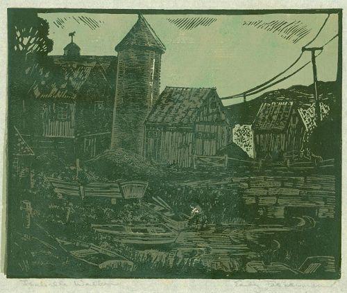 Isabella Brockway Walker Woodblock Print - Early Fisherman (Version 1)