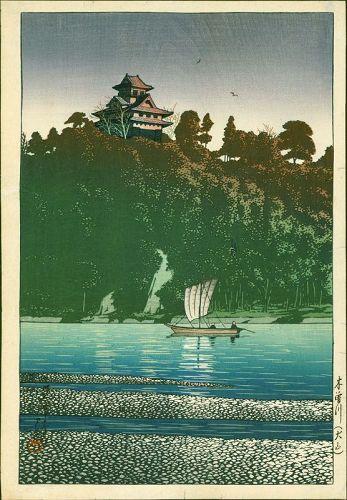 Kawase Hasui Japanese Woodblock Print - Kiso River, Inuyama - Pre-war