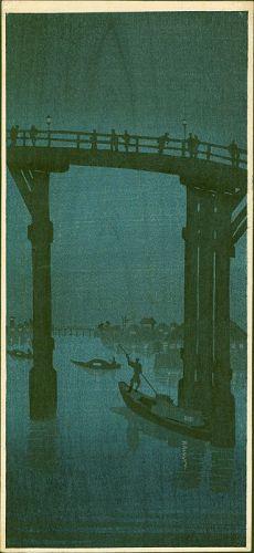 High Bridge Night Scene Woodblock Print - Whistler-inspired SOLD